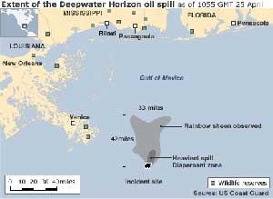 plano superficie derrame petroleo Golfo México