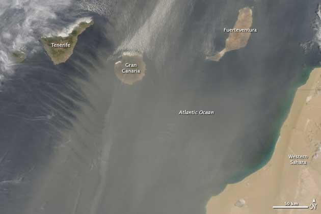 polvo Sahara sobre las Iislas Canarias, imagen de satélite