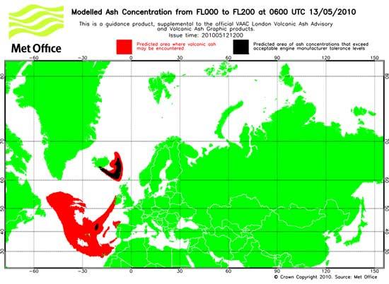 previsión evolución nube cenizas volcán Eyjafjalla 13-05-2010