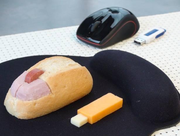sándwich ratón y usb