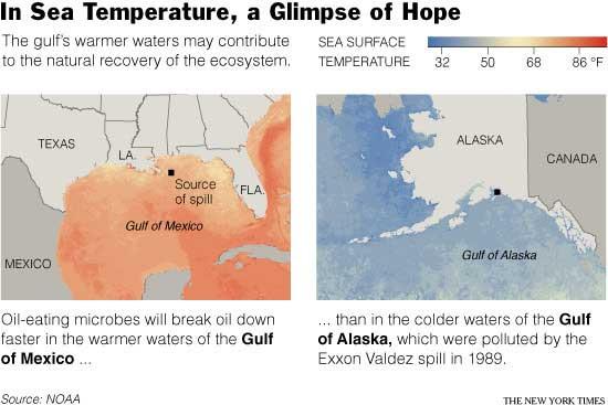 temperaturas del agua del mar en el Golfo y en Alaska