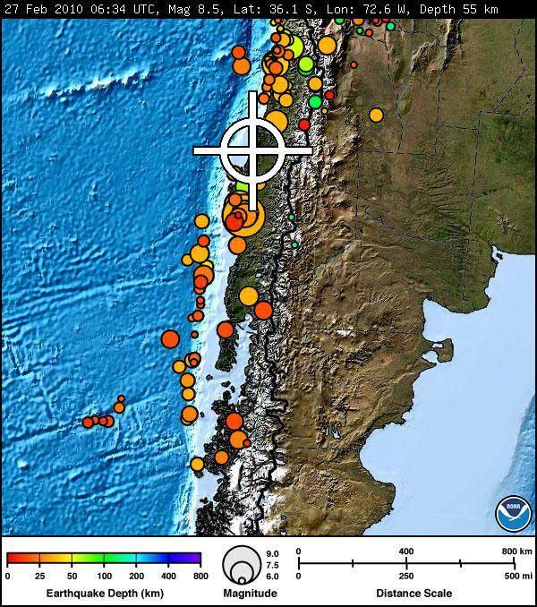 terremoto Chile, NOAA