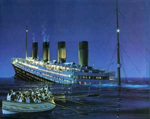 Titanic con la proa hundida