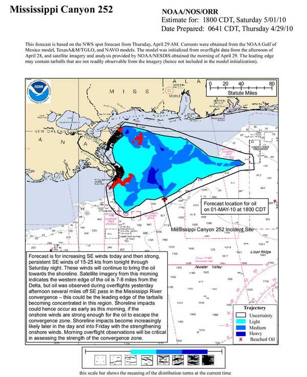 trayectoria de la mancha de petróleo para el día 1 de mayo 2010