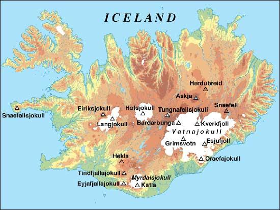 mapa volcanes activos en Islandia