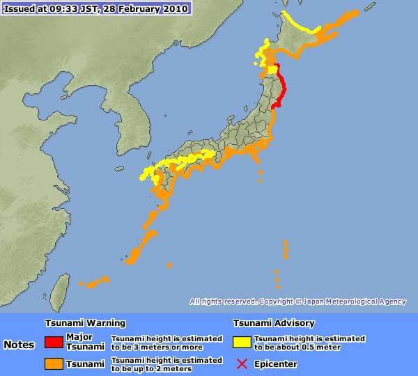 zonas peligro costas Japón por tsunami