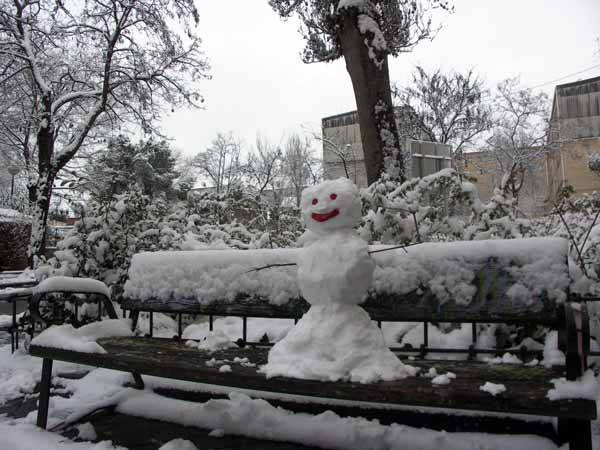 muñeco de nieve en Madrid, enero 2009