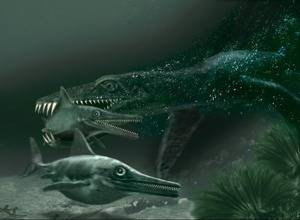 recreación de caza submarina del plesiosaurio