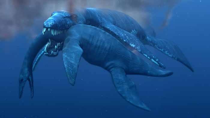 pliosaurio ataca a un plesiosaurio
