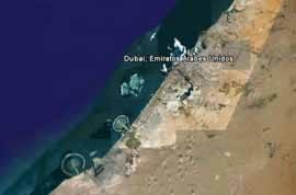 Imagen de Google Earth de las tres islas artificiales de Dubai