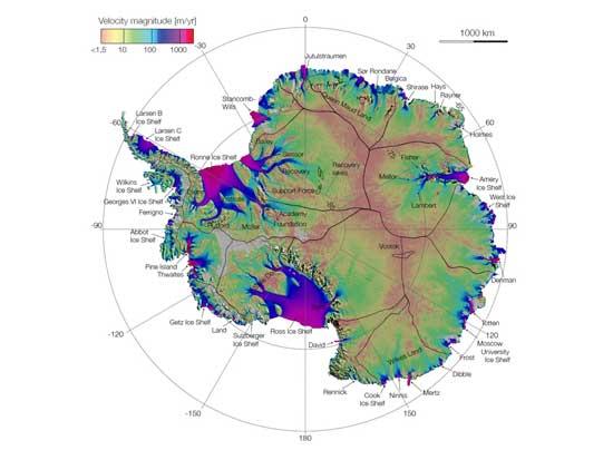 Mapa de la Antártida, NASA