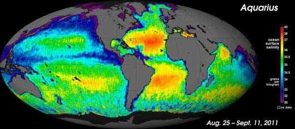 mapa global de la salinidad de los océanos