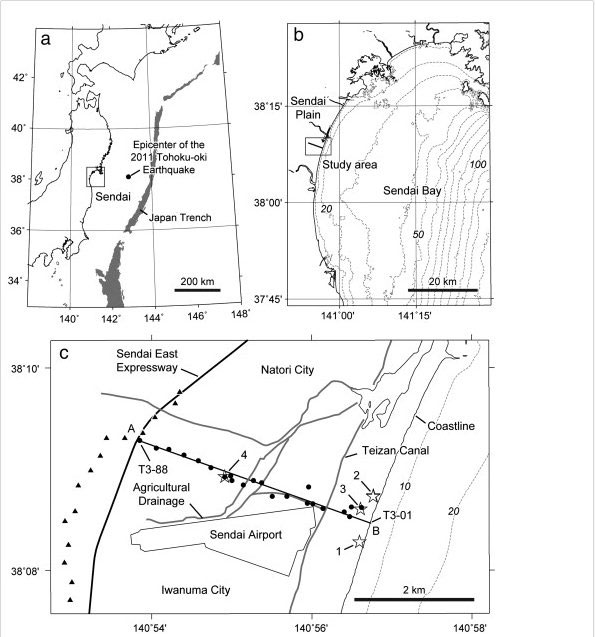 El tsunami de Japón formó enormes dunas submarinas Area-estudio-sendai
