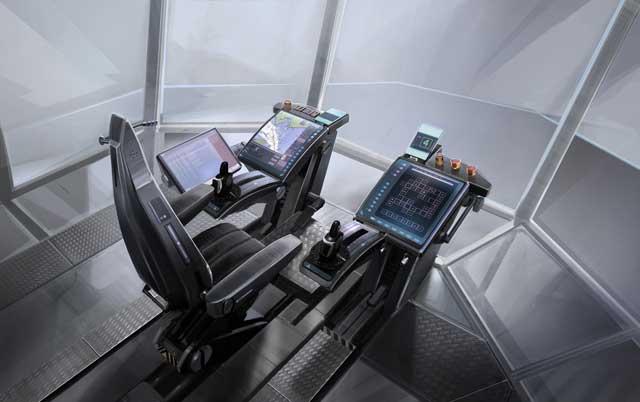 concepto de puente de mando de un buque del futuro