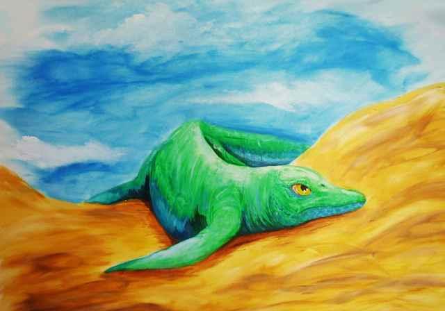 Antiguo reptil el más pequeño y antiguo 'pez lagarto' conocido