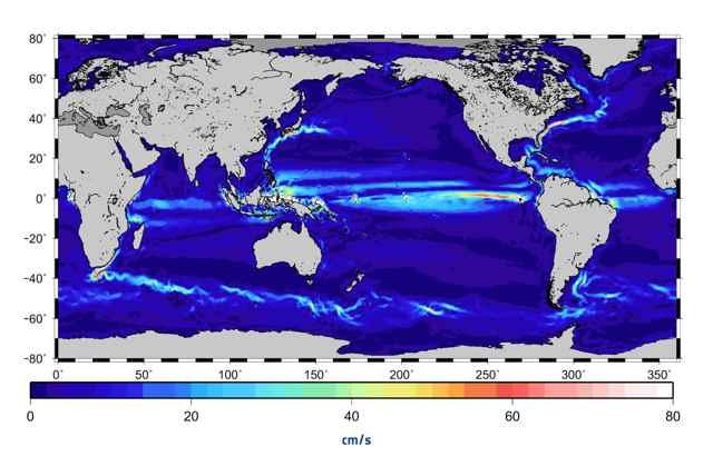 Nuevo mapa de velocidad actual del océano