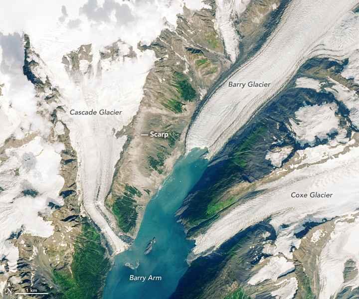 Glaciar Barry, visto en agosto de 2019