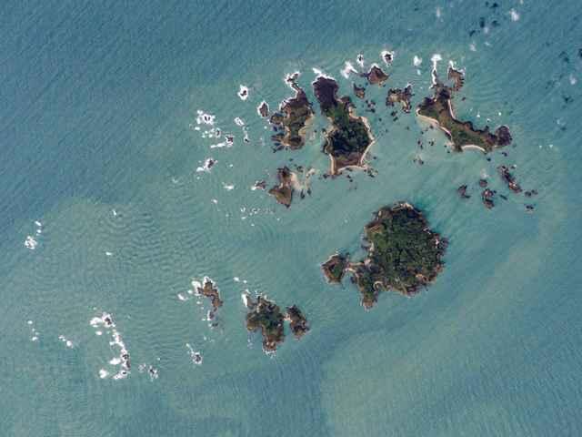 Islas Sorlingas desde satélite
