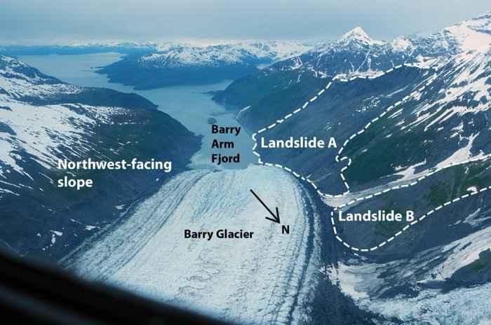 deslizamientos de tierra desde el Glaciar Barry