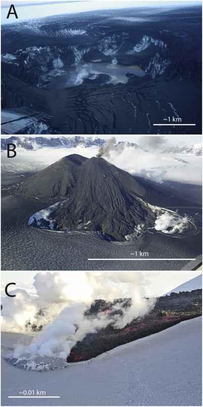impactos en el hielo por erupción de volcanes