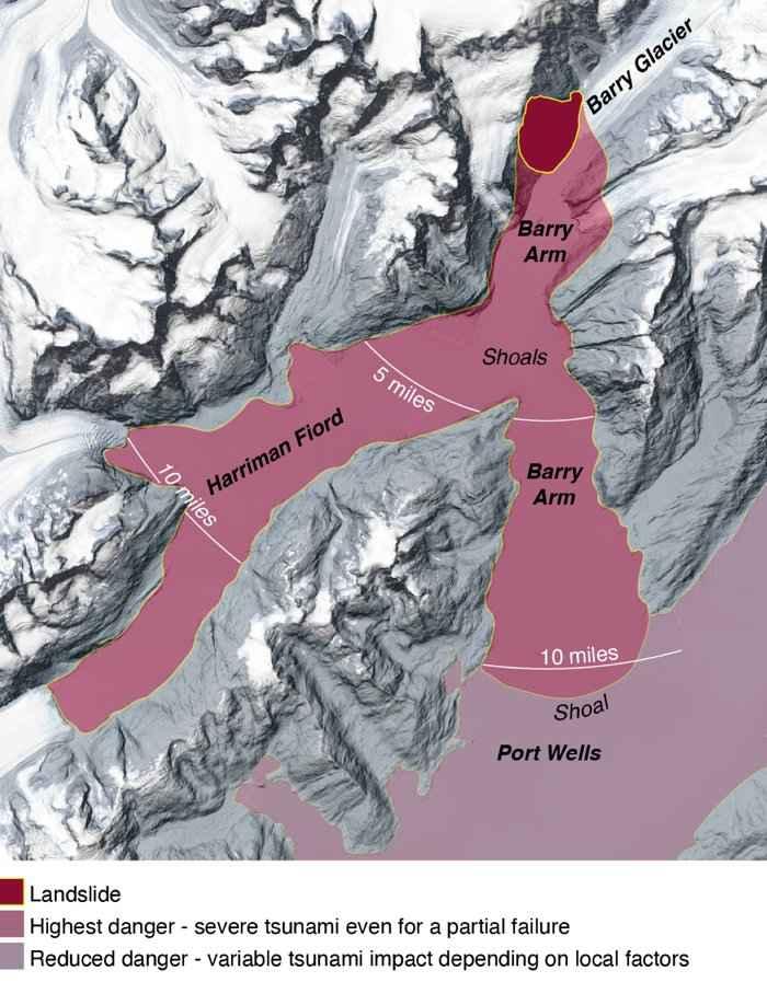 proyecciones de tsunami en Prince William Sound, Alaska