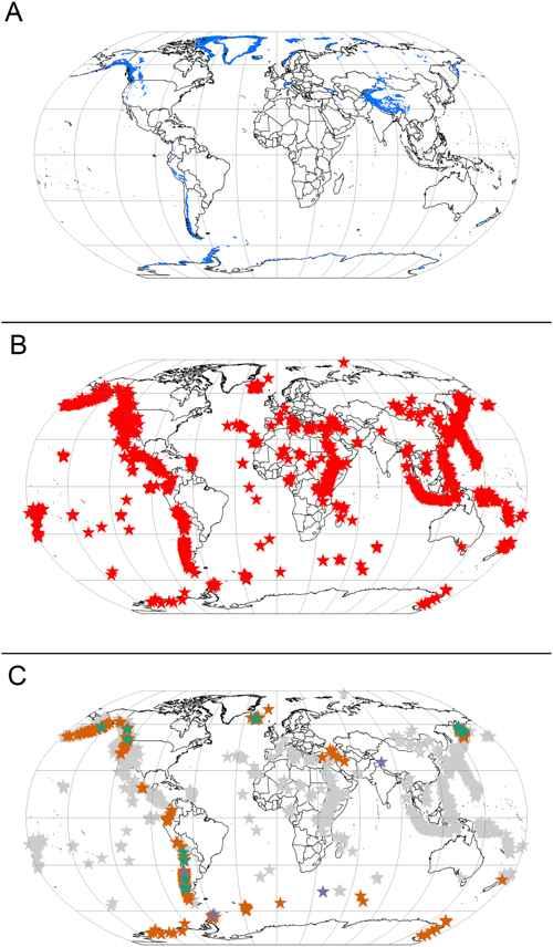 mapa de los volcanes glaciares