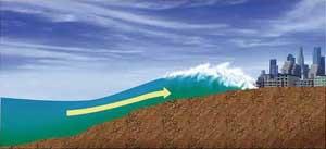 tsunami en una costa de baja altura