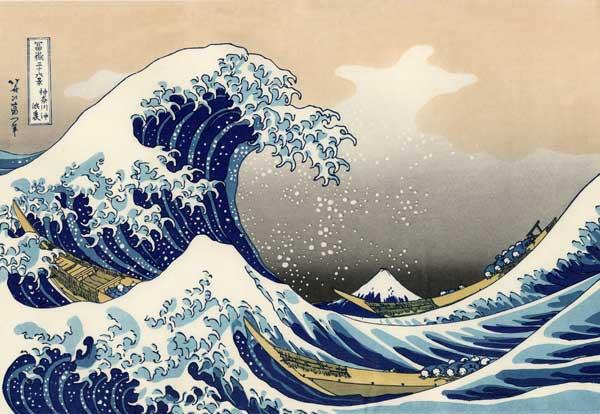 tsunami, grabado fuji de 1823