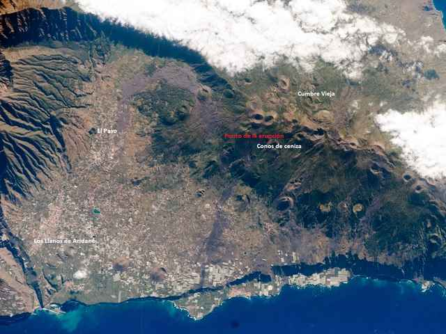 isla de La Palma por la NASA