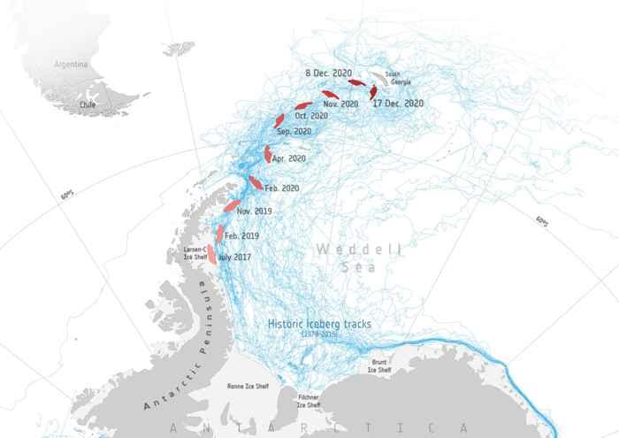 recorrido del iceberg A-68a