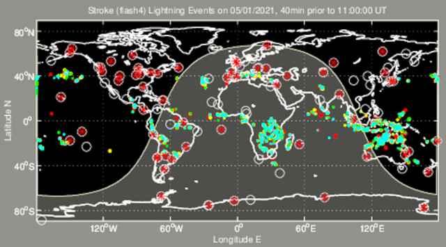 mapa global de rayos