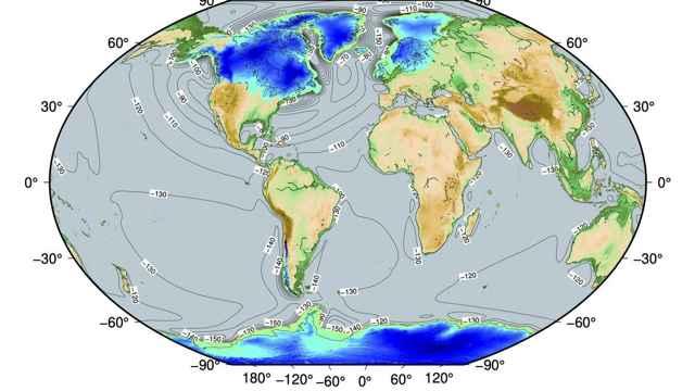elevación de la superficie del hielo hace 20.000