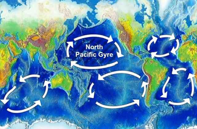 mapa del parche de basura del Pacífico